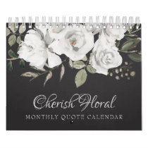 Vintage Cherish White Floral Your Custom Quotes Calendar