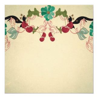 Vintage cherries and flowers Invitation
