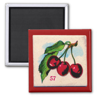 Vintage Cherries Game Card Refrigerator Magnets