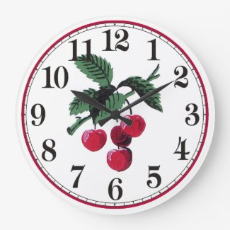 Vintage Cherries Large Clock
