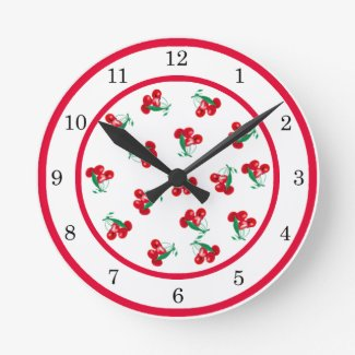 Vintage Cherries Wall Clock