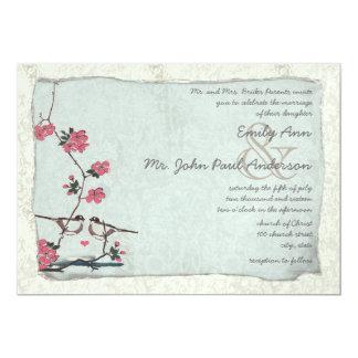 Vintage Cherry Blossom Chickadee  Damask Wedding Custom Announcements