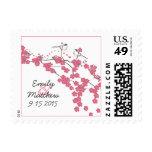 Vintage Cherry Blossom Chickadee Wedding Postage