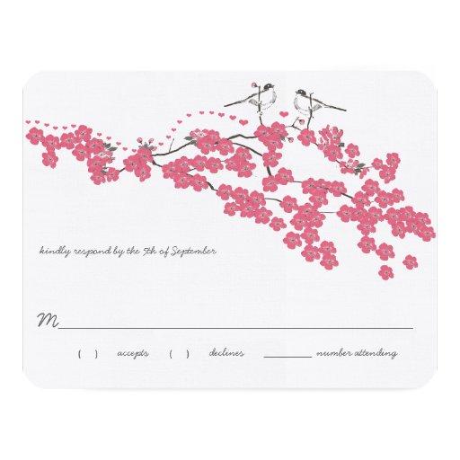 Vintage Cherry Blossom Chickadee Wedding RSVP Invitations