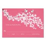 Vintage Cherry Blossom Chickadee Wedding RSVP Invite