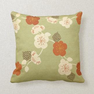 Vintage cherry blossom flowers American MoJo Pillo Throw Pillow