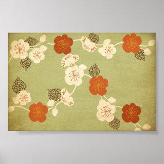 Vintage cherry blossom flowers Poster