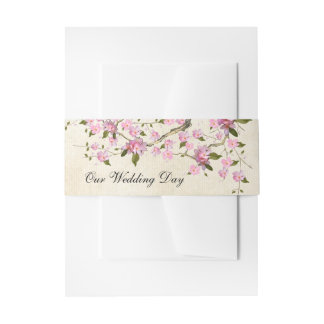 Vintage Cherry Blossom Invitation Belly Band