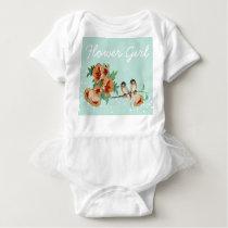 Vintage Cherry Blossom Love Bird Peach Mint Baby Bodysuit