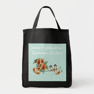 Vintage Cherry Blossom Love Bird Peach Mint Bags