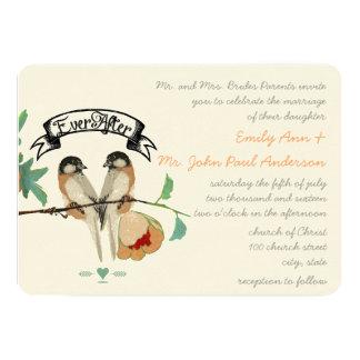 Vintage Cherry Blossom Love BIrd Peach Mint Card