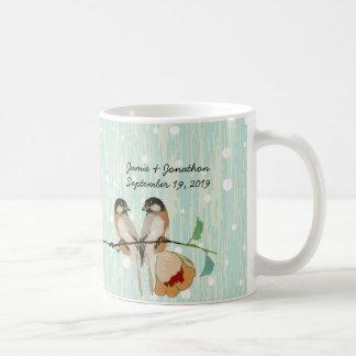 Vintage Cherry Blossom Love Bird Peach Mint Coffee Mug
