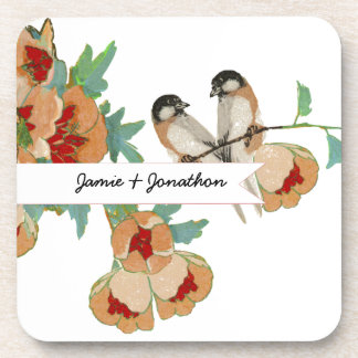 Vintage Cherry Blossom Love Bird Peach Mint Drink Coaster