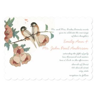 Vintage Cherry Blossom Love BIrd Peach Mint Invitation