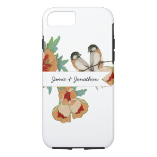 Vintage Cherry Blossom Love Bird Peach Mint iPhone 8/7 Case