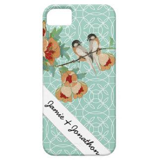 Vintage Cherry Blossom Love Bird Peach Mint iPhone SE/5/5s Case
