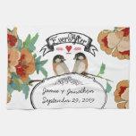 Vintage Cherry Blossom Love Bird Peach Mint Kitchen Towels