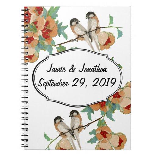 Vintage Cherry Blossom Love Bird Peach Mint Notebooks