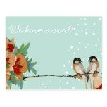 Vintage Cherry Blossom Love Bird Peach Mint Postcard