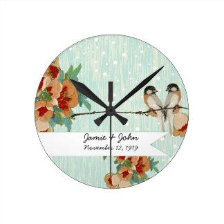 Vintage Cherry Blossom Love Bird Peach Mint Round Clock