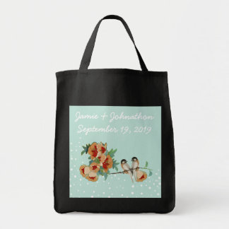 Vintage Cherry Blossom Love Bird Peach Mint Tote Bag