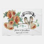 Vintage Cherry Blossom Love Bird Peach Mint Towel