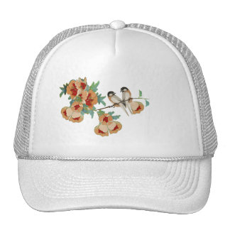 Vintage Cherry Blossom Love Bird Peach Mint Trucker Hat