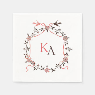 Vintage Cherry Blossom Monograms Wedding Napkins Disposable Napkin