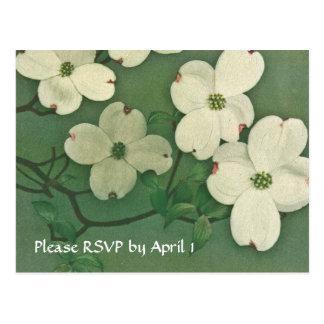 Vintage Cherry Blossom RSVP Postcard