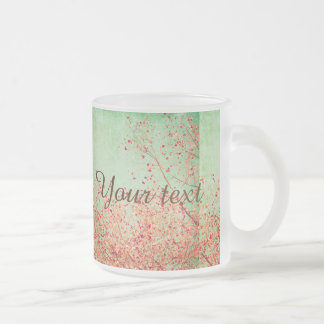Vintage,cherry blossom,rustic,grunge,trendy,girly, 10 oz frosted glass coffee mug