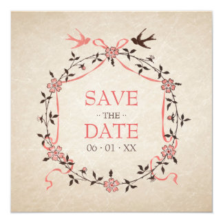 Vintage Cherry Blossom Swallows Save the Date card