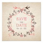 Vintage Cherry Blossom Swallows Save the Date card Custom Announcement