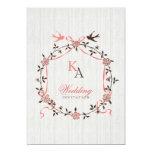 Vintage Cherry Blossom Swallows Wedding invitation