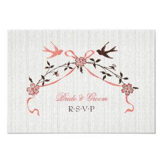 Vintage Cherry Blossom Swallows Wedding RSVP card