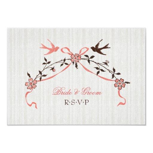 "Vintage Cherry Blossom Swallows Wedding RSVP card 3.5"" X 5"" Invitation Card"