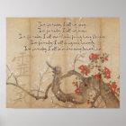 Vintage Cherry Blossom Watercolor Reiki Principles Poster