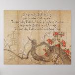 Vintage Cherry Blossom Watercolor Reiki Principles Print