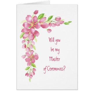 Vintage Cherry Blossom Wedding Master Ceremonies Card
