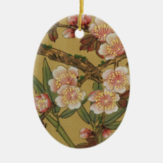 Vintage Cherry Blossoms Asian Japanese Art Double-Sided Oval Ceramic Christmas Ornament