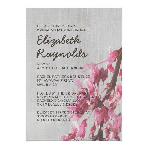 vintage cherry blossoms bridal shower invitations