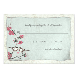 Vintage Cherry Blossoms &Chickadee Damask  3.5 x 5 Card
