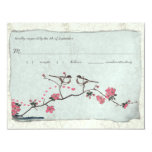 Vintage Cherry Blossoms & Chickadee Damask  RSVP Personalized Invites