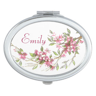 Vintage Cherry Blossoms Compact Mirror