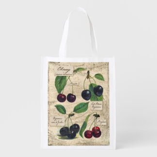 Vintage Cherry Botanical print, grocery bag