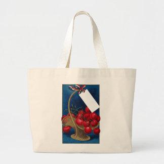 Vintage Cherry Gift Basket Large Tote Bag