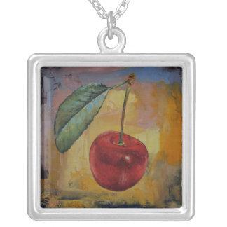 Vintage Cherry Square Pendant Necklace