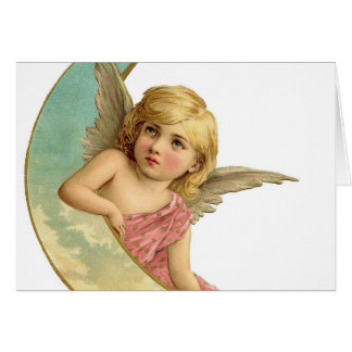 Vintage Cherub and Cresent Moon Card