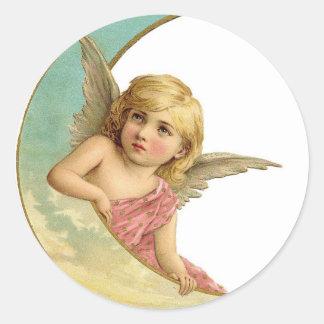 Vintage Cherub and Cresent Moon Classic Round Sticker
