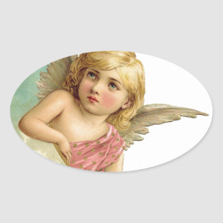 Vintage Cherub and Cresent Moon Oval Sticker