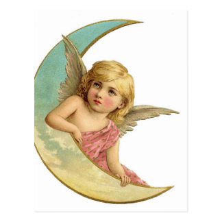 Vintage Cherub and Cresent Moon Postcard